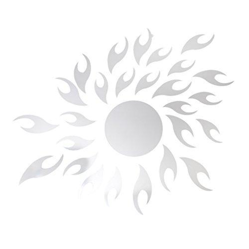 Générique 27pcs Autocollant Mural Soleil Amovible Style Miroir Décoration pour Maison