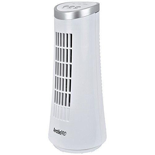 Arctic-Pro Mini Desk OSCILLATING Tower Fan Slim and Compact Size, 2-Speed, Ultra-Quiet Operation, Convenient Carrying Handle, 75 Degrees of Oscillation for Powerful Circulation, 12 Inches, White