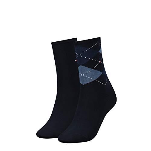 Tommy Hilfiger Damen Socken, 2er Pack, Blau (Tommy Blue 054), 39/42