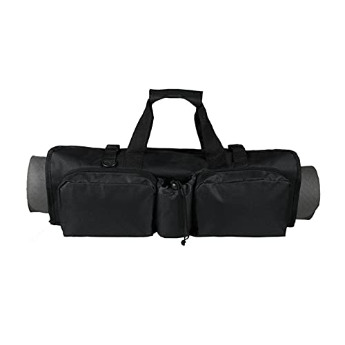 ヨガマットトートバッグ、600Dオックスフォードクロス実用的なヨガ収納バッグキャリアポケット付き快適で便利なほとんどのマットサイズにフィットヨガ用の調節可能なショルダーストラップ付きブラックワークアウト収納バッグ