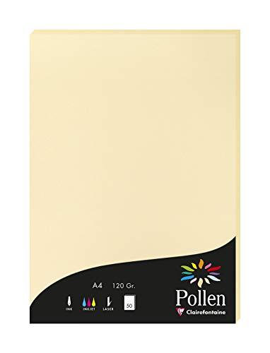 Clairefontaine 4296C Packung mit 50 Karten Pollen 120g, DIN A4, 21 x 29,7cm, Chamois