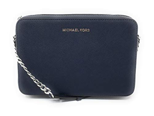 Michael Kors Jet Set Item Large East West Cross-body Navy Silver