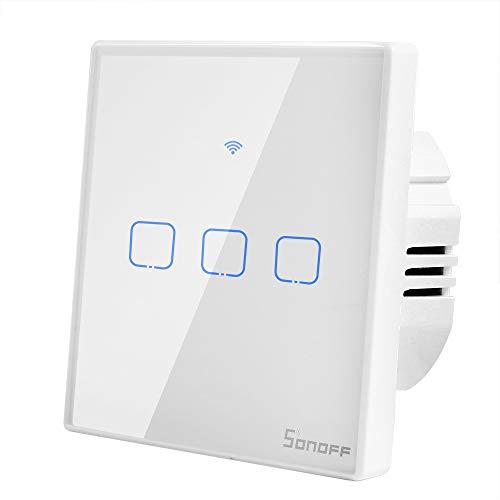 T2 Interruptor WiFi de Pared 3 Canales Inalámbrico Inteligente Interruptor de Luz de Control Remoto Compatible con Alexa, Google Assistente y IFTTT (Se Necesita Cable Neutro)