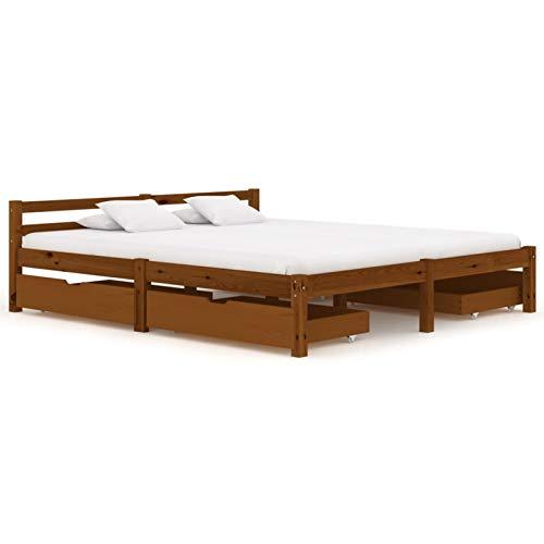 Tidyard Estructura de Cama con 4 Cajones Marco de Cama Cama para Dormitorio Pino Marrón Miel 160 x 200 cm