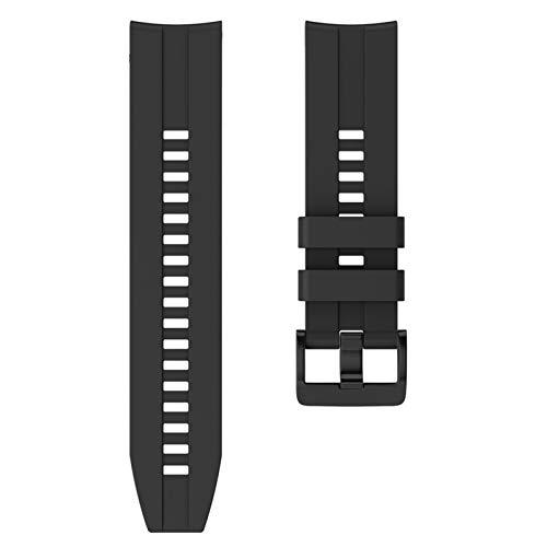 BAAIFC Correa de silicona deportiva de 22 mm para Huawei para Honor Magic Watch GT Active Strap para Samsung Galaxy Watch 46 mm Gear S3 (color de la correa: negro, ancho de la correa: 22 mm)
