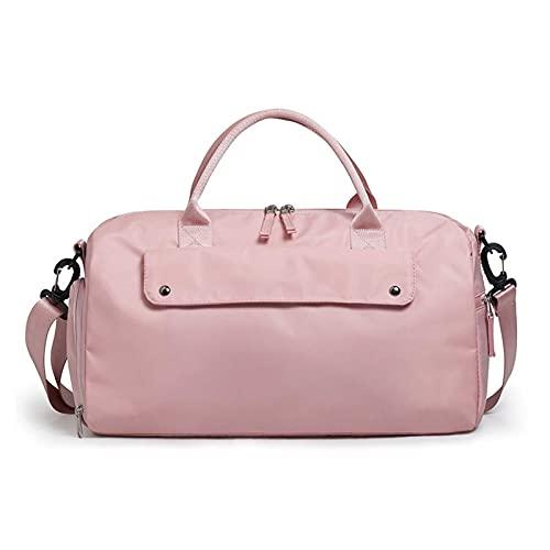 Adesign Bolso de Gimnasio Deportivo con Bolsillo y Zapatos mojados, Bolso de Viaje de Viaje para Hombres y Mujeres Ligeros (Color : Pink)