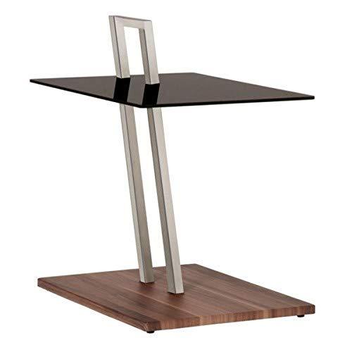 Haku Möbel 89850 mesa auxiliar 35 x 45 x 67 cm, aspecto acero inoxidable / nogal