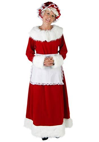Women's Mrs. Claus Costume Adult Santa Dress Bonnet Apron X-Large