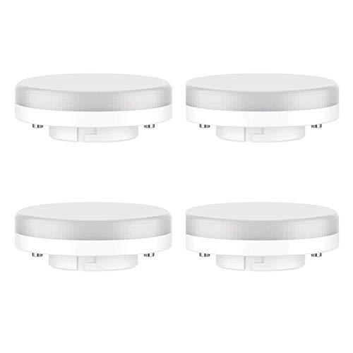 Pursnic Bombilla GX53 LED - 7W / 550LM, reemplazo incandescente 50W, Blanco Frío 6000k, no regulable, 220-240V, paquete de 4