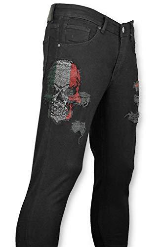 Mario Morato Hombres Vaqueros Ajustados - Pantalones Hombres - Cráneo Color Negro