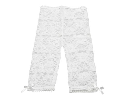 Baby Emporio - Leggings en dentelle pour bébé/fille - nœuds en satin aux chevilles/taille confortable - sachet cadeau - 6-12 mois - Dentelle blanc cassé