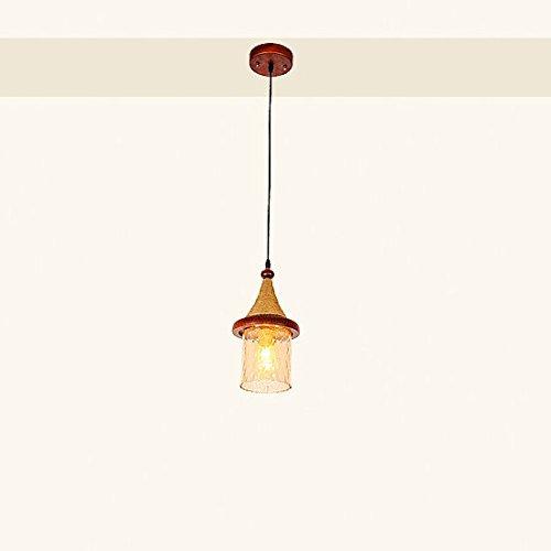 Vampsky 1-Luz Retro Cuerda de cáñamo Madera maciza Restaurante de madera Araña Japonesa Vintage Sudeste asiático Techo de cristal Lámpara colgante Hotel Cocina Café E27 Restaurante Casa de campo Lámpa