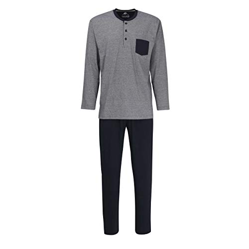 Ceceba Herren Pyjama, Langarm, Baumwolle, Single Jersey, Navy, gestreift 52