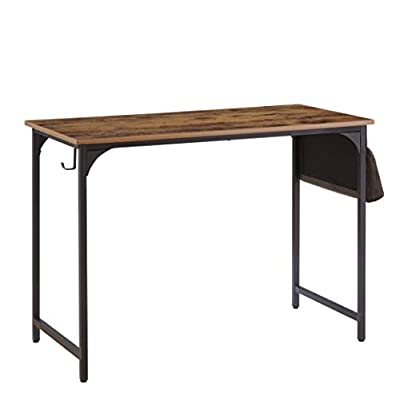 """KOZYSPHERE Computer Desk 40"""" Home Office Study Writing Desk Modern PC Laptop Notebook Writing Table with Storage Bag, Metal Frame,Rustic Brown"""