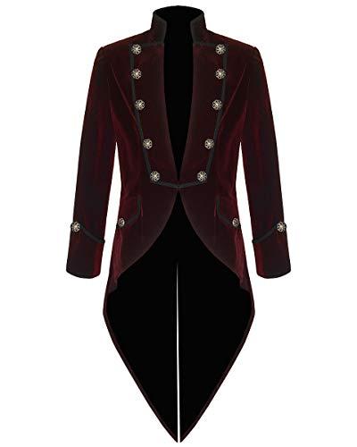 Mens Steampunk Tailcoat Jacket Velvet Gothic VTG Victorian /Tail Coat (Medium, Burgundy)