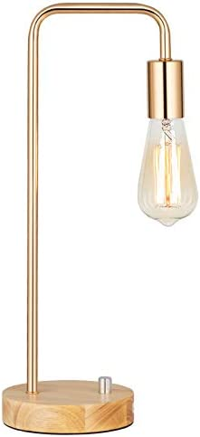 HAITRAL Industrial Desk Lamp, Vintage Edison Bulb Table Lamp for Dorm, Office, Bedroom, Living Room - Black (Without Bulb)