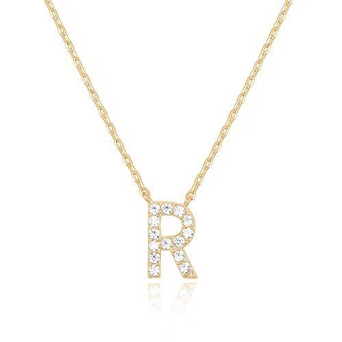 PAVOI 14K Yellow Gold Plated Cubic Zirconia Initial Necklace | Letter Necklaces for Women | R Initial
