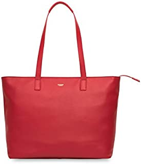 """Knomo Mayfair Luxe Maddox, 15"""" Leather Laptop Tote Bag, with Device Protection, RFID Pocket and KNOMO ID, Chilli"""