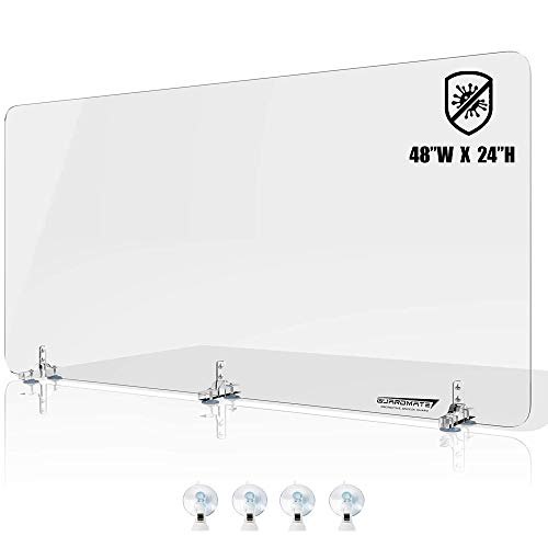 GUARDMATE | Premium Plexiglass Shield Sneeze Guard | 48'W x 24'H | Acrylic Office Divider Panel - Suction Cup Stand | Protection for Work Space Portable Plastic Barrier Shield Reception Cubicles