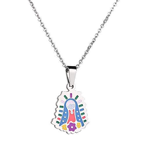 SWAOOS Virgen María María Medalla Milagrosa Colgante Collar Estilo De Dibujos Animados Católico Religioso Cristiano Joyas para Mujeres Regalo