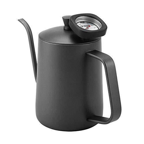 NBLYW 600ml RVS Giet over Koffie Ketel en Thee Ketel met Thermometer, Precisie Zwanenhals Tuit voor Thuis Brewing, Camping en Reizen