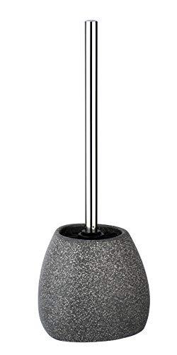 WENKO WC-Garnitur Pion - WC-Bürstenhalter mit Silikonborsten, Keramik, 12,5 x 38,5 x 12 cm, grau