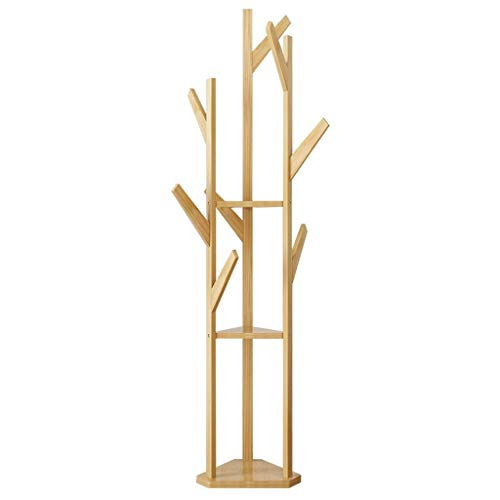 47-B Percha de piso dormitorio simple colgador colgante simple simple moderno bambú piso abrigo rack piso madera sólida