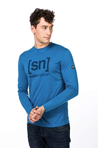 super.natural Essential I.d T-Shirt à Manches Longues pour Homme L Vallarta Blue/Navy Blazer Logo