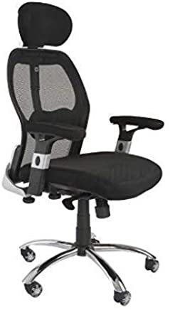 Mahmayi Ruvi 0266H02 High Back Mesh Chair – Black - Meshed Chair with Chrome Base and Adjustable Padded Arms ¬– High-Back Chair Tilt Tension Control and Headrest