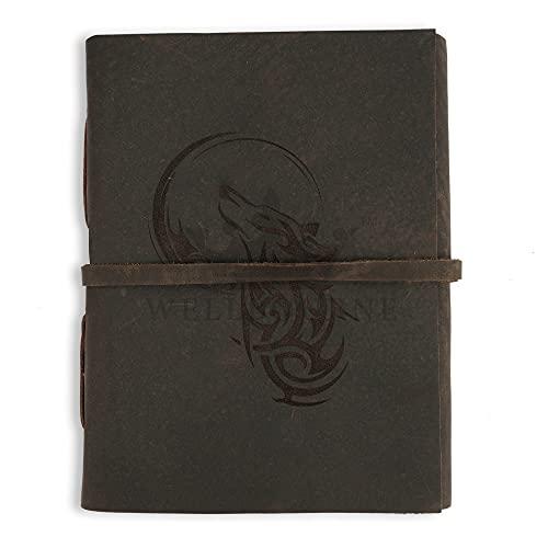 Cuaderno de notas de cuero grabado con el lobo aullador y la luna A6 Diario de viaje hecho a mano con páginas sin forro para escribir y dibujar - Regalo para hombres y mujeres - Marrón oscuro