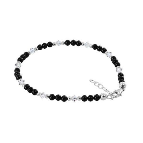 Gem Avenue Black Simulated Onyx Swarovski Elements Crystal 9 to 10 inch Sterling Silver Adjustable Anklet Ankle Bracelets