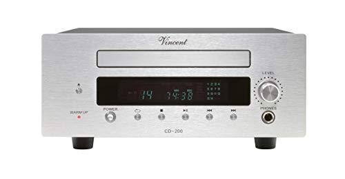 Vincent CD-200 High-End CD-Player mit Aluminium-Front, Wiedergabe von Audio-CD, integrierter Burr Brown D/A-Wandler, Fernbedienung, Silber