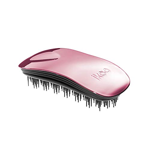Ergonomische & hochwertige ikoo home rose metallic Haarbürste mit schwarzem TCM-Borstenpanel für ein tägliche Wellness Erlebnis