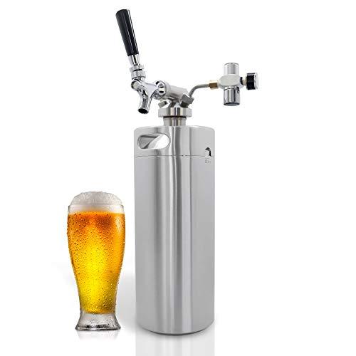 NutriChef Pressurized Growler Tap System - 128oz Stainless Steel Homebrew Mini Keg Dispenser Portable Kegerator Kit - Co2 Pressure Regulator Keeps Carbonation for Craft Beer, Draft -