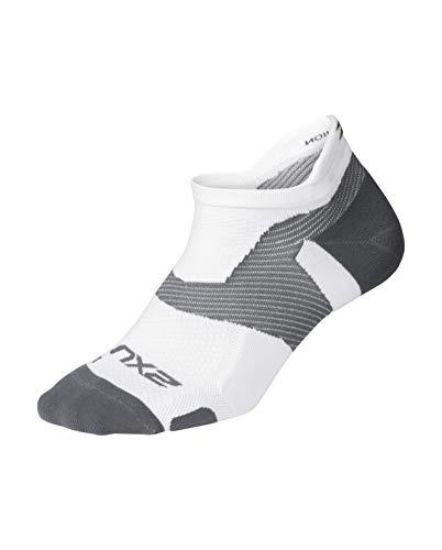 2XU Unisex's Vectr Light Cushion No Show Socks, White/Grey, Small