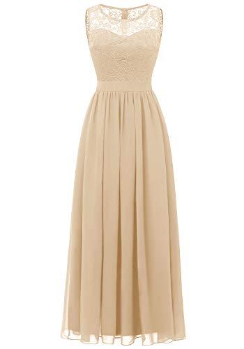 Dressystar 0046 Abendkleid Basic Chiffon Spitzen Ärmellos Brautjungfernkleider Bodenlang Champagner L