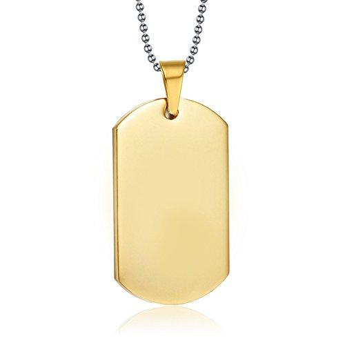 NEHZUS, collana da uomo, in acciaio inox, con piastrina incisa. Catenina lunga 55,9cm. Personalizzabile e acciaio inossidabile, colore: Gold, cod. NEHZUS-ST001G
