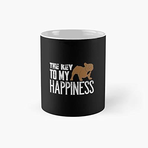 Taza clásica de Bulldog francés The Key to My Happiness   El mejor regalo divertidas tazas de café de 12 onzas