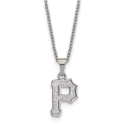 Q Gold MLB Pittsburgh Pirates Stainless Steel Pittsburgh Pirates Pendant on Chain with 2 in ext Necklace Size One Size