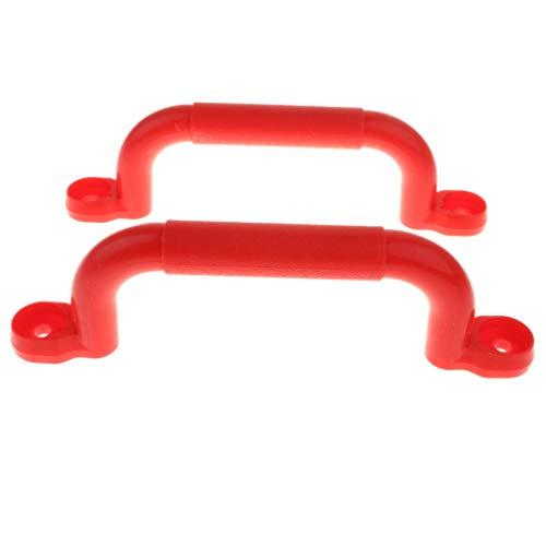 SM SunniMix 2pcs rutschfeste Handgriffe Haltegriffe Für Spielgeräte, Spieltürme, Spielhäuser und Spielanlagen - Rot