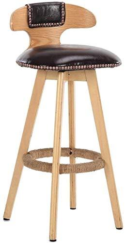 BDLYZ Yxsd Taburetes de barra de madera taburetes de bar sillas altas de cocina, desayuno, comedor silla con asiento de cuero PU respaldo alto bar taburete (color: C, tamaño: 42 × 42 × 80 cm)