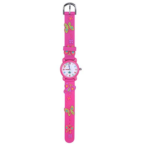 【𝐎𝐟𝐞𝐫𝐭𝐚𝐬 𝐝𝐞 𝐁𝐥𝐚𝐜𝐤 𝐅𝐫𝐢𝐝𝐚𝒚】Reloj impermeable para niños, correa de PVC con correa de PVC ajustable para niños(Butterfly Rose)