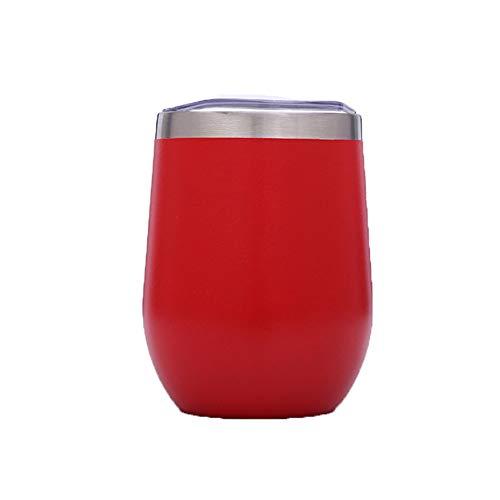 ZGZXD 4 gobelets Verre vin sans Tige Acier Inoxydable avec Couvercle en Verre incassable, Tasse en Verre pour café, vin, Cocktails, Eau, Whisky, jus,Red