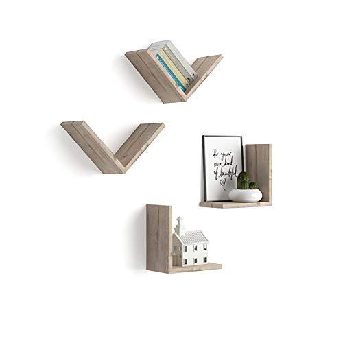 Mobili Fiver, Set de 4 étagères en V, Giuditta, en Mélaminé, Chêne Naturel, 25 x 15 x 25 cm, Mélaminé, Made in Italy