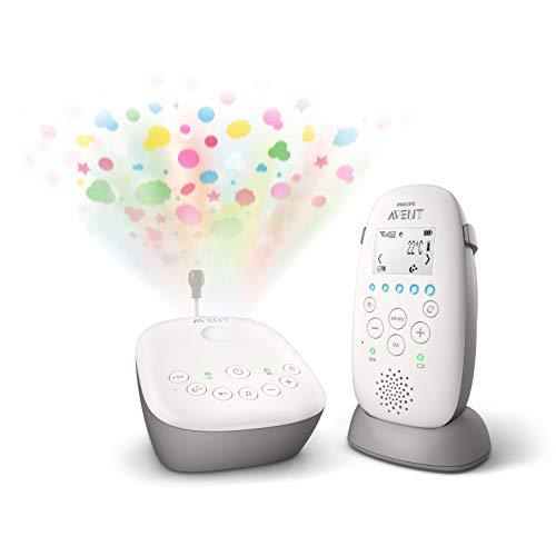 Philips AVENT SCD733/00 Babyphone DECT - Mode Smart ECO, Ecran LCD, Socle de charge, Alerte vibration et pleure, Mode nuit, Projecteur d'étoiles