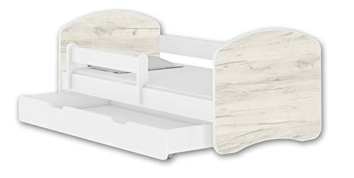 Letto per bambino Cameretta per bambino con materasso Lettino bambini ACMA II (Bianco - Rovere Bianco, 180x80 + Cassetto)