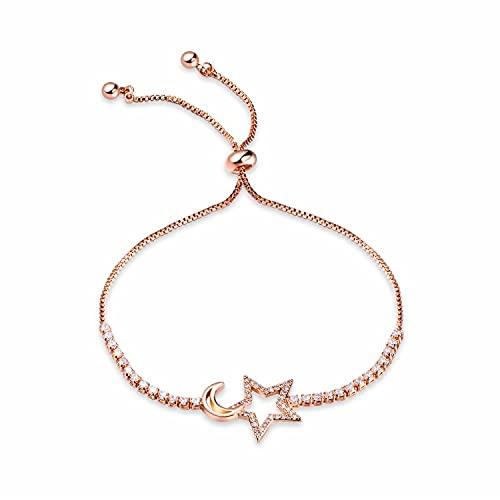 Diseño Creativo Estilo De Moda Estrella Luna Forma Incrustado Zircon Rosa Color Oro Pulsera De Cobre Señora Tamaño Ajustable Pulsera
