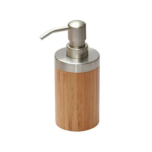 axentia Seifenspender Bonja aus Edelstahl & Bambus – Spender für Flüssigseife – Seifendispenser für Küche, Bad & WC – Pumspender für flüssige Seife – Design-Flüssigseifenspender