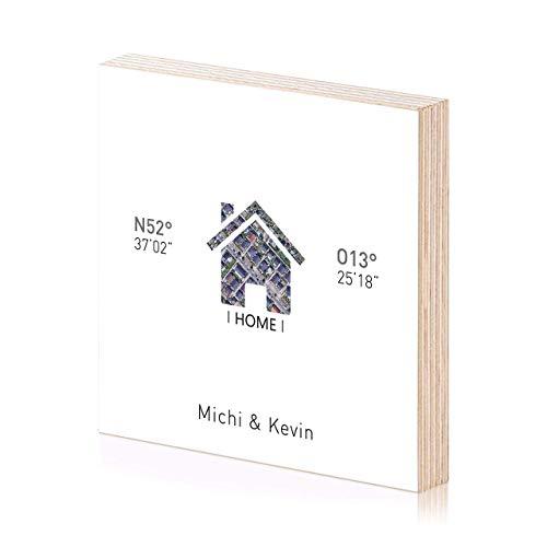 Home Koordinaten Holzbild Einweihungsgeschenk 15x15 zum hinstellen oder aufhängen als Geschenk oder Geschenkidee Einweihung Einzug Geburtstag Wand-Deko Wand-Bild