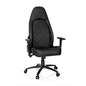 hjh OFFICE 722500 silla ejecutiva LEADER piel sintética negro / blanco silla gaming elegante con apoyabrazos respaldo alto silla de oficina
